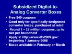 subsidized digital to analog converter boxes