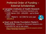 preferred order of funding external scholarships8