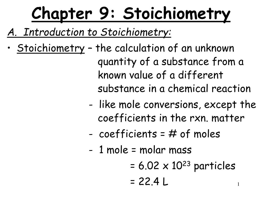 chapter 9 stoichiometry l.