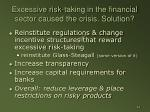 excessive risk taking in the financial sector caused the crisis solution