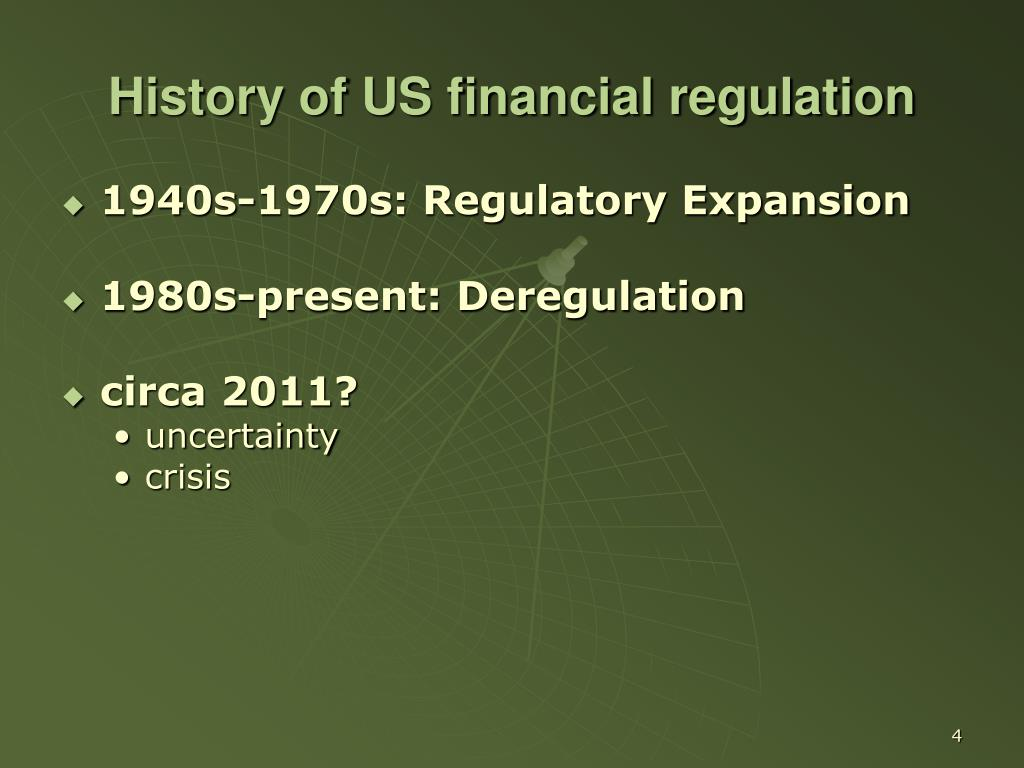 History of US financial regulation