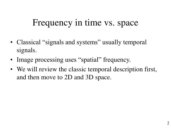 Frequency in time vs space