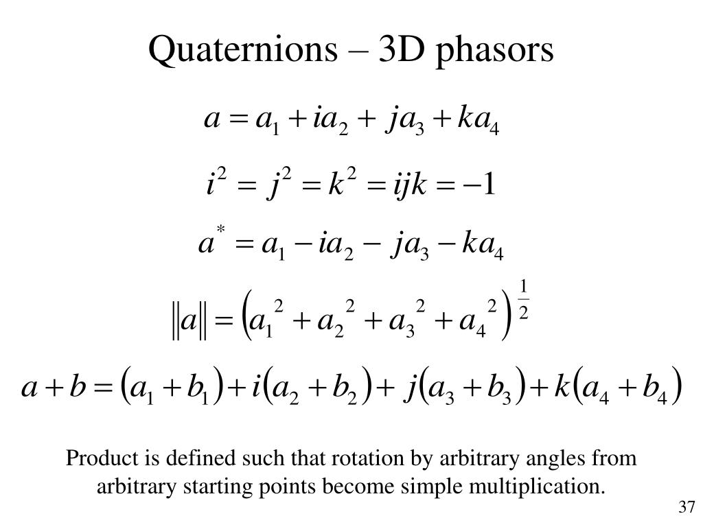 Quaternions – 3D phasors
