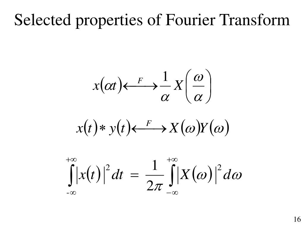 Selected properties of Fourier Transform