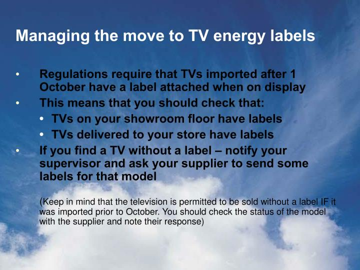 Managing the move to tv energy labels