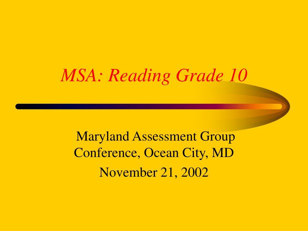 msa reading grade 10 l.