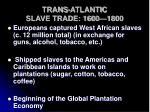 trans atlantic slave trade 1600 1800