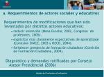 a requerimientos de actores sociales y educativos