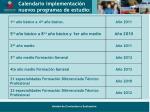 calendario implementaci n nuevos programas de estudio