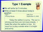type 1 example