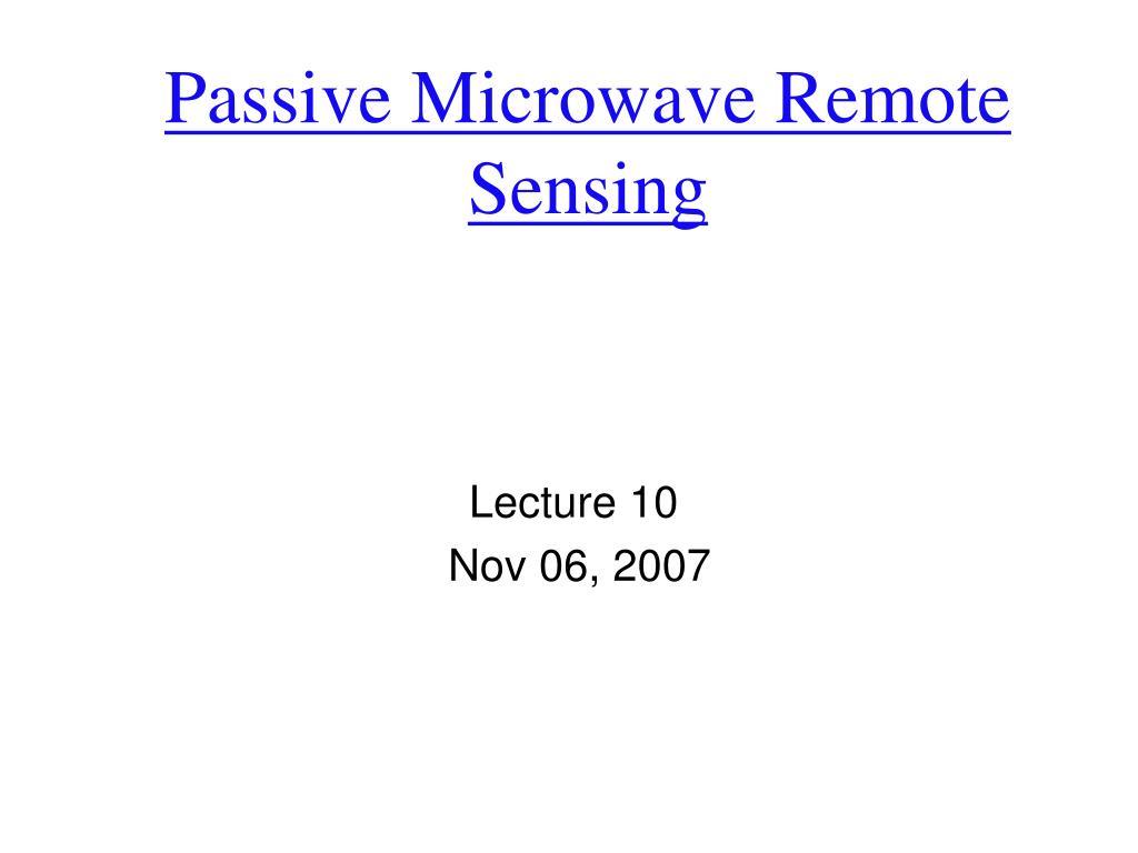 passive microwave remote sensing l.