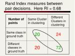 rand index measures between pair decisions here ri 0 68