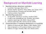 background on manifold learning