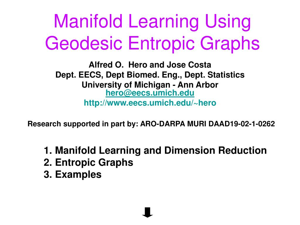 manifold learning using geodesic entropic graphs l.