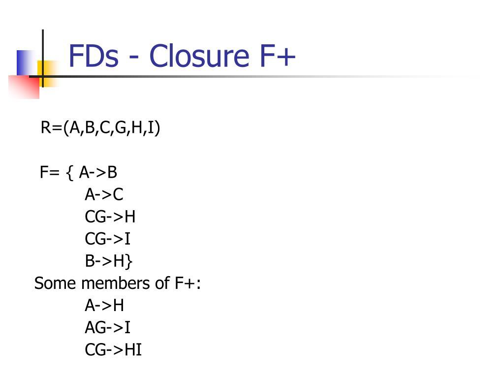 FDs - Closure F+