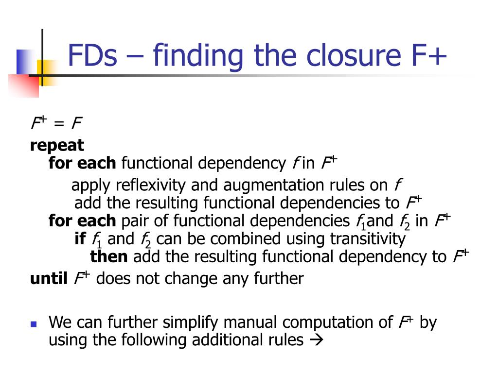FDs – finding the closure F+