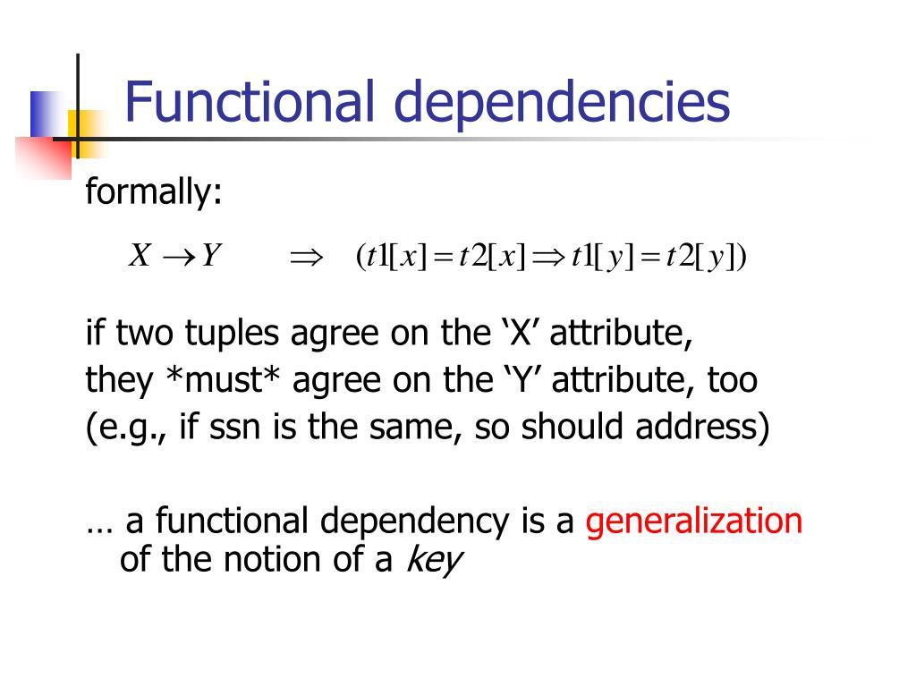 Functional dependencies