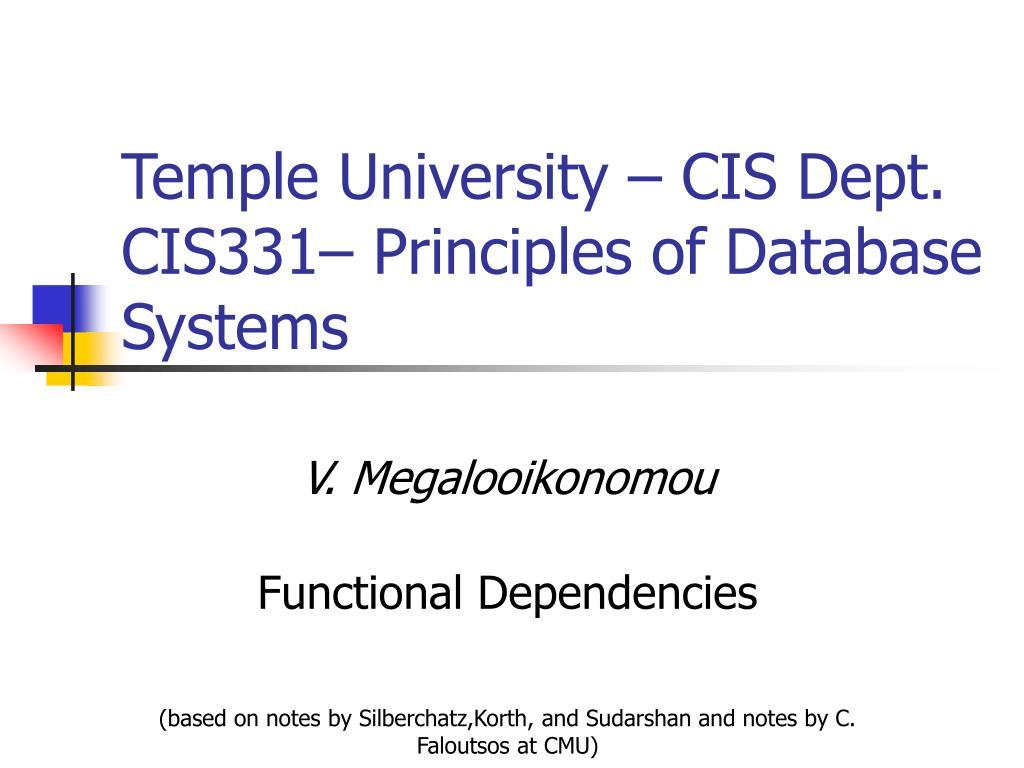 temple university cis dept cis331 principles of database systems l.