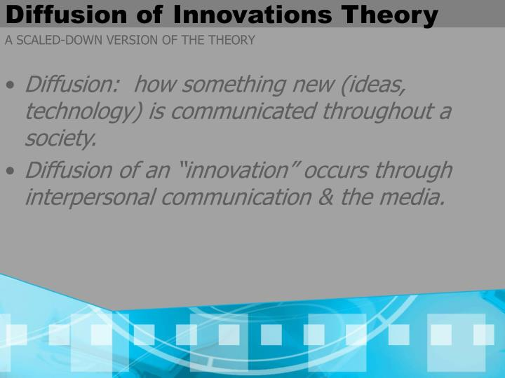 """blackberry innovation diffusion research project Rogers' diffusion of innovations theory is the most appropriate for investigating the adoption of technology in  """"an innovation is an idea, practice, or project that is perceived as new by an individual or other unit of adoption"""" (rogers, 2003, p 12)  diffusion research on technology clusters for rogers (2003), """"a technology."""