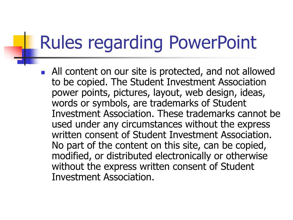 rules regarding powerpoint l.