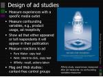 design of ad studies