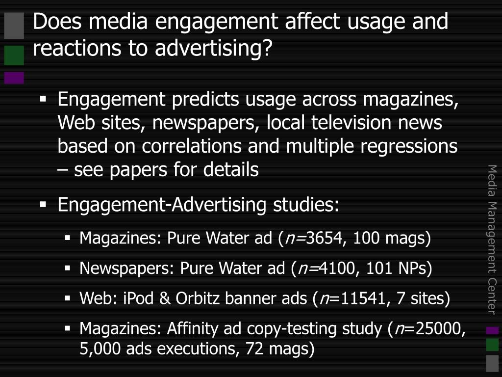 Does media engagement affect usage and reactions to advertising?