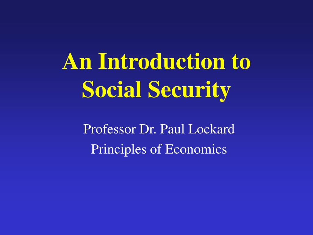 an introduction to social security l.