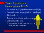 new information homocysteine levels