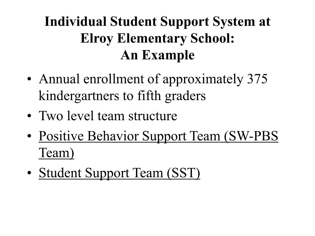 individual student support system at elroy elementary school an example l.