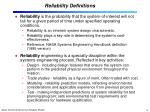 reliability definitions