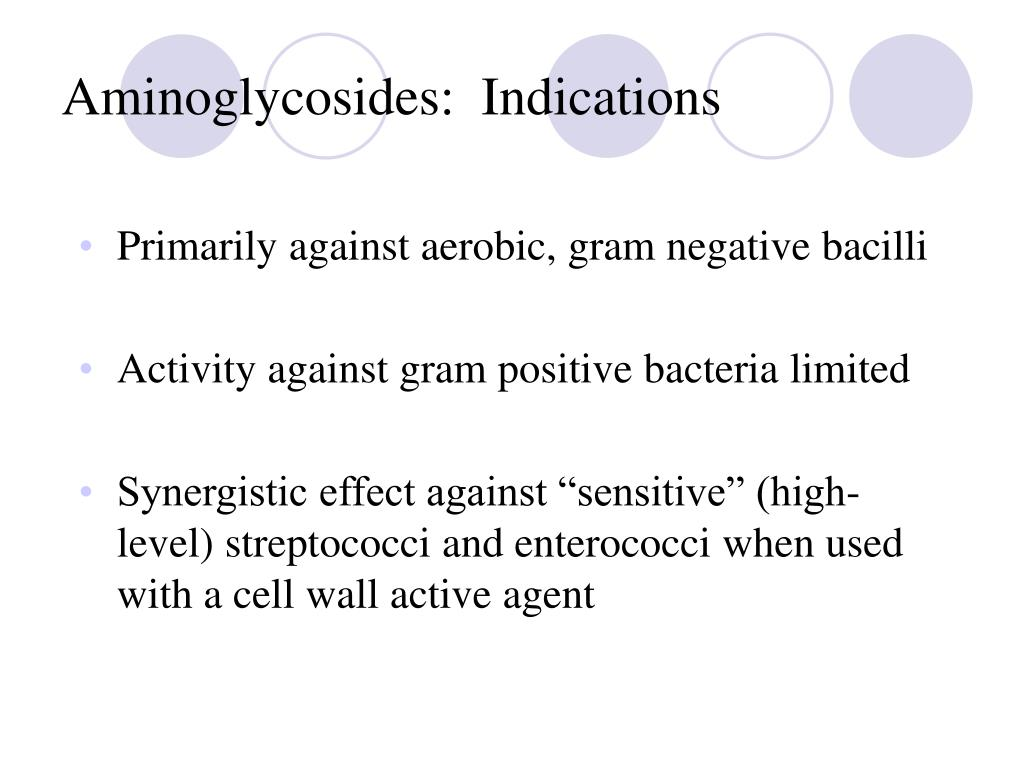 Aminoglycosides:  Indications