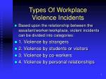types of workplace violence incidents