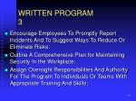 written program 3