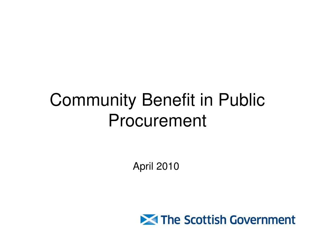 community benefit in public procurement l.