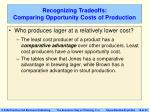 recognizing tradeoffs comparing opportunity costs of production19