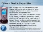 different device capabilities