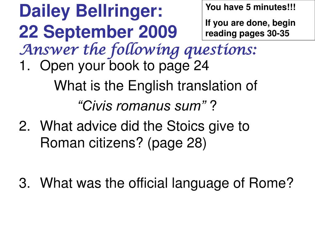 dailey bellringer 22 september 2009 answer the following questions l.