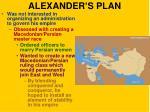 alexander s plan