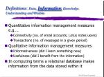 definitions data information knowledge understanding and wisdom12