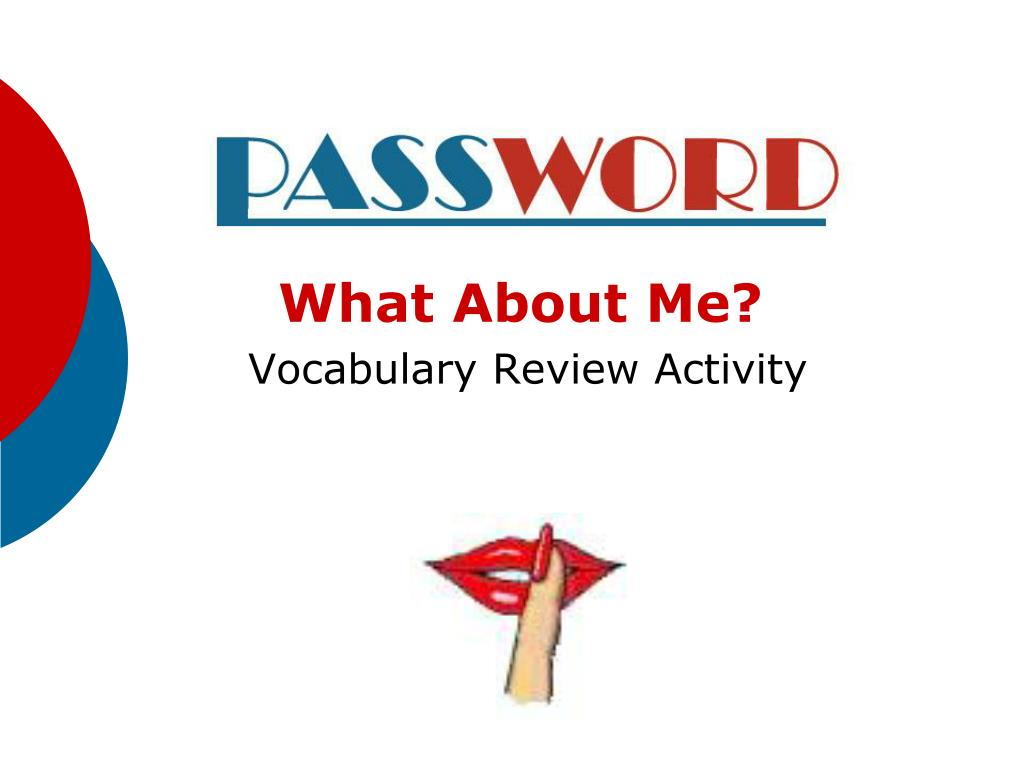 what about me vocabulary review activity l.