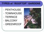 types of rooftop gardens