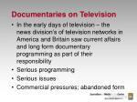documentaries on television