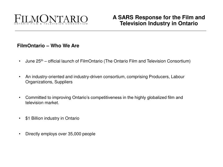 a sars response for the film and television industry in ontario n.