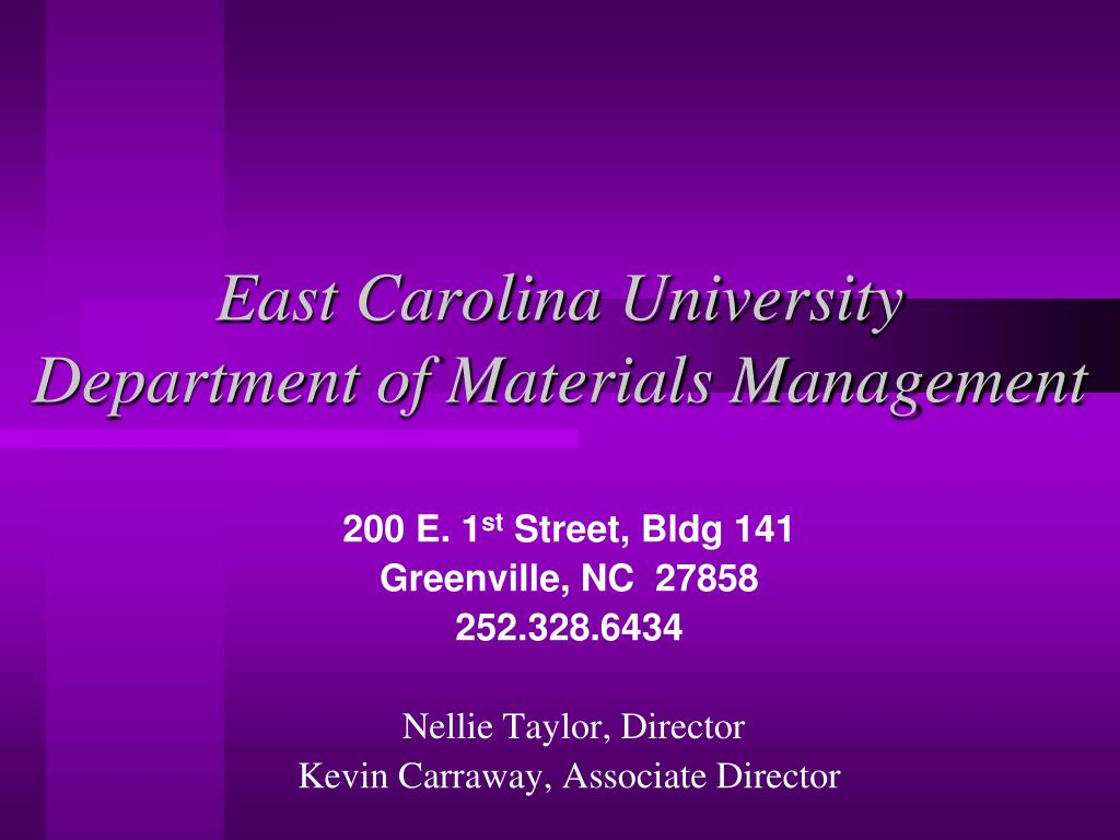 east carolina university department of materials management l.