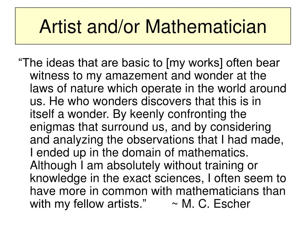 Artist and/or Mathematician