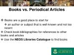 books vs periodical articles