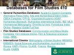 databases for film studies 410