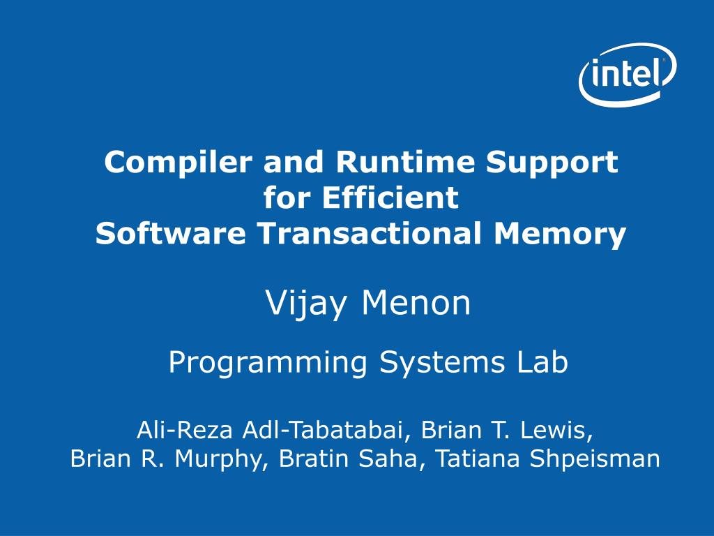 compiler and runtime support for efficient software transactional memory l.