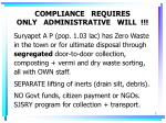 compliance requires only administrative will