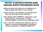 notify enforce buffer zone around waste processing sites